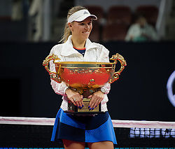 October 7, 2018 - Caroline Wozniacki of Denmark during the trophy ceremony after winning the final of the 2018 China Open WTA Premier Mandatory tennis tournament (Credit Image: © AFP7 via ZUMA Wire)