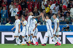 MOSCOW, June 19, 2017  Team Chile celebrates a goal during the 2017 Confederations Cup football Group B match between Cameroon and Chile in Moscow, Russia, June 18, 2017. (Credit Image: © Evgeny Sinitsyn/Xinhua via ZUMA Wire)
