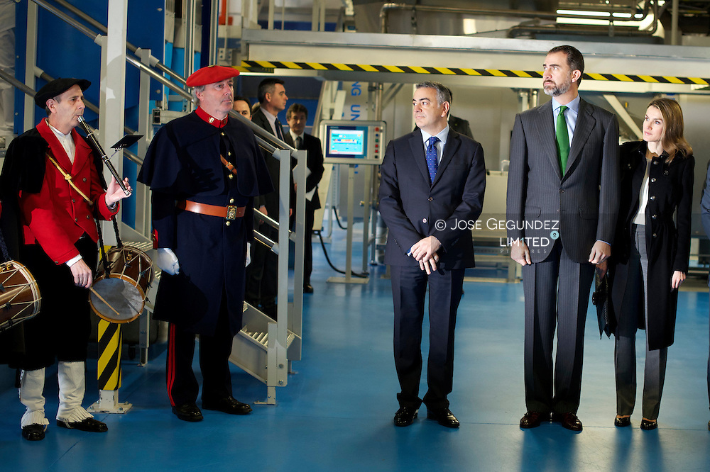 Prince Felipe of Spain and Princess Letizia of Spain attends the Opening of  the industrial laundry Special Employment Centre 'Indesa 2010' on March 5, 2013 at Vitoria-Gastiez, Spain