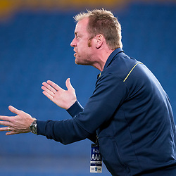 BRISBANE, AUSTRALIA - SEPTEMBER 20: Gold Coast City coach Grae Piddick gives instructions during the Westfield FFA Cup Quarter Final match between Gold Coast City and South Melbourne on September 20, 2017 in Brisbane, Australia. (Photo by Gold Coast City FC / Patrick Kearney)
