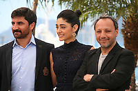 Actor Korkmaz Arslan, actress Golshifteh Farahani and director Hiner Saleem at the My Sweet Pepper Land film photocall Cannes Film Festival on Wednesday 22nd May 2013