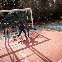 Members of Bnei Menashe play soccer at the absorption center in Givat Haviva in Israel, a few weeks after their immigration. Photo by Michal Fattal