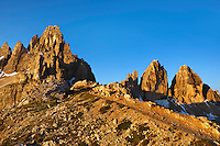 Mountain impression Paternkofel and Tre Cime - Europe, Italy, South Tyrol, Sexten Dolomites, Tre Cime - Sunrise - July 2009 - Mission Dolomites Tre Cime