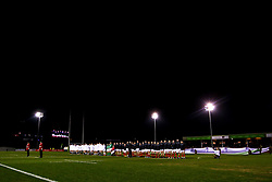 England U20 and Wales U20 line up for the national anthems - Mandatory by-line: Robbie Stephenson/JMP - 22/02/2019 - RUGBY - Zip World Stadium - Colwyn Bay, Wales - Wales U20 v England U20 - Under-20 Six Nations