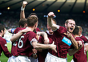 William Hill Scottish FA Cup Semi Final CELTIC FC v HEART OF MIDLOTHIAN FC Season 2011-12.15-04-12...RUDI SKACEL OF HEARTS CELEBRATES PUTTING HEARTS 1-0 UP  WITH CRAIG BEATTIE during the William Hill Scottish FA Cup Semi Final tie between CELTIC FC and HEART OF MIDLOTHIAN FC with the Winner facing   in this years Scottish Cup Final in May...At Hampden Park Stadium , Glasgow..Sunday 15th April 2012.Picture Mark Davison/ Prolens Photo Agency / PLPA