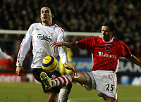 Photo: Chris Ratcliffe.<br /> Charlton Athletic v Liverpool. The Barclays Premiership. 08/02/2006.<br /> Fernando Morientes  of Liverpool tussles with Alexei Smertin of Charlton