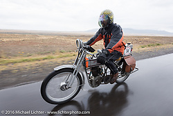 Victor Hugas of Texas riding his Class-1 single-cylinder single-speed 1913 Harley-Davidson through the rain during the Motorcycle Cannonball Race of the Century. Stage-11 ride from Durango, CO to Page, AZ. USA. Wednesday September 21, 2016. Photography ©2016 Michael Lichter.