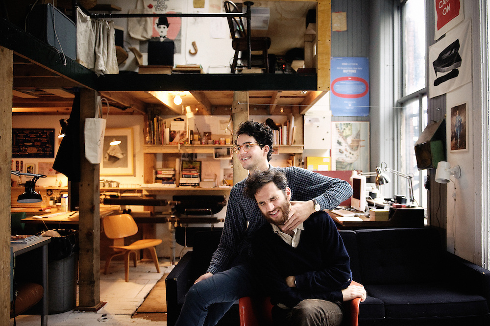 Josh and Bennie Safdie at their Redbuckets films office in the neighboor of Tribeca, New York. 2009, June 18th. Photo: Antoine Doyen