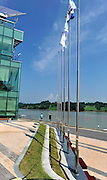 Chungju, South Korea. General Views Boathouse, and other buildings, 2013 FISA World Rowing Championships,  at the Tangeum Lake International Regatta Course. 11:55:59  Saturday  24/08/2013 [Mandatory Credit. Peter Spurrier/Intersport Images]