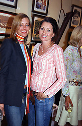 Left to right, AMANDA HOWARD and HATTI LANE-FOX at a an exhibition of prints by art dealer Martin Summers held at 73 Glebe Place, London on 29th June 2004.