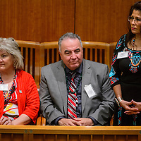 Rhonda Ray, right, and other honorees are recognized during Gallup McKinley County Day at the New Mexico State Capital Building in Santa Fe Thursday.