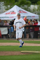 KELOWNA, CANADA - JUNE 28: Retired NHL player Colby Armstrong runs onto the field during the opening charity game of the Home Base Slo-Pitch Tournament fundraiser for the Kelowna General Hospital Foundation JoeAnna's House on June 28, 2019 at Elk's Stadium in Kelowna, British Columbia, Canada.  (Photo by Marissa Baecker/Shoot the Breeze)