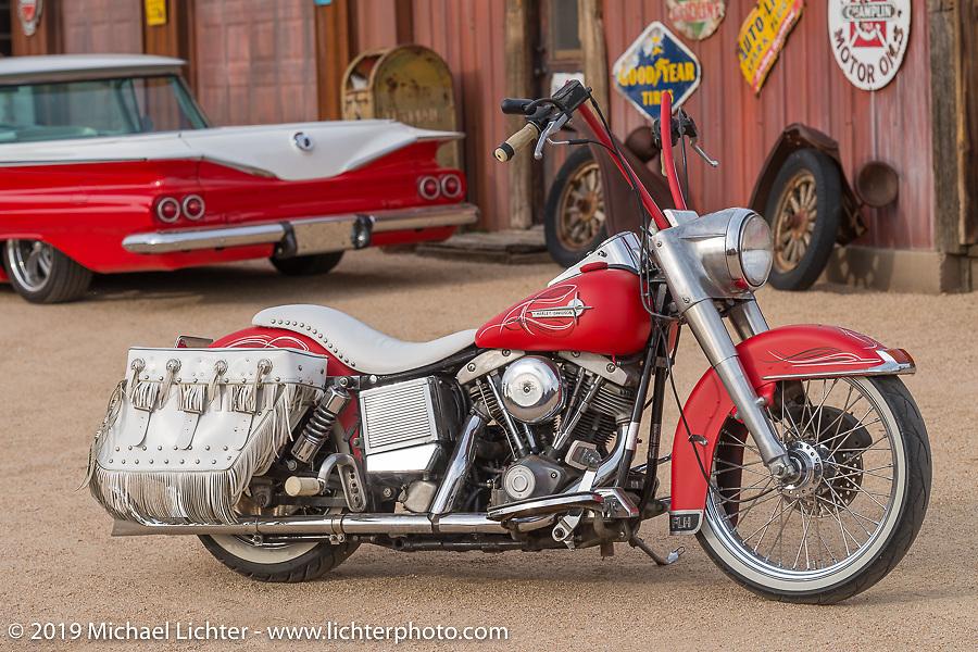 "Craig Gacom's restored Harley-Davidson Shovelhead at his ""Rusty Ranch"" on Thursday of Arizona Bike Week 2014. USA. April 4, 2014.  Photography ©2014 Michael Lichter."