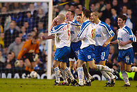 Football -  AXA  Sponsored FA Cup - 4th Round - Everton v Tranmere Rovers  - 27/1/01<br />Tramere's Steve Yates celebrates his goal and their 3rd while Everton's Thomas Myhre picks the ball out of the net<br />Mandatory Credit:Action Images / Darren Walsh<br />Digitalsport