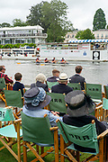 Henley-On-Thames, Berkshire, UK.,Thursday, 12.08.21,   Wyfold Challenge Cup, Lea Rowing Club, move past the progress boat in their heat at the 2021 Henley Royal Regatta,  [ Mandatory Credit © Peter Spurrier/Intersport Images], Hat, Hats at Henley,