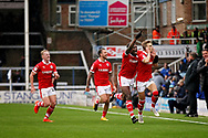 Barnsley midfielder Brad Potts (20)  celebrates his goal during  the EFL Sky Bet League 1 match between Peterborough United and Barnsley at The Abax Stadium, Peterborough, England on 6 October 2018.