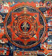 Avalokitesvara Mandala depicting the Bodhisattva of compassion in her aspect as Amoghapasa. Nepal 1860