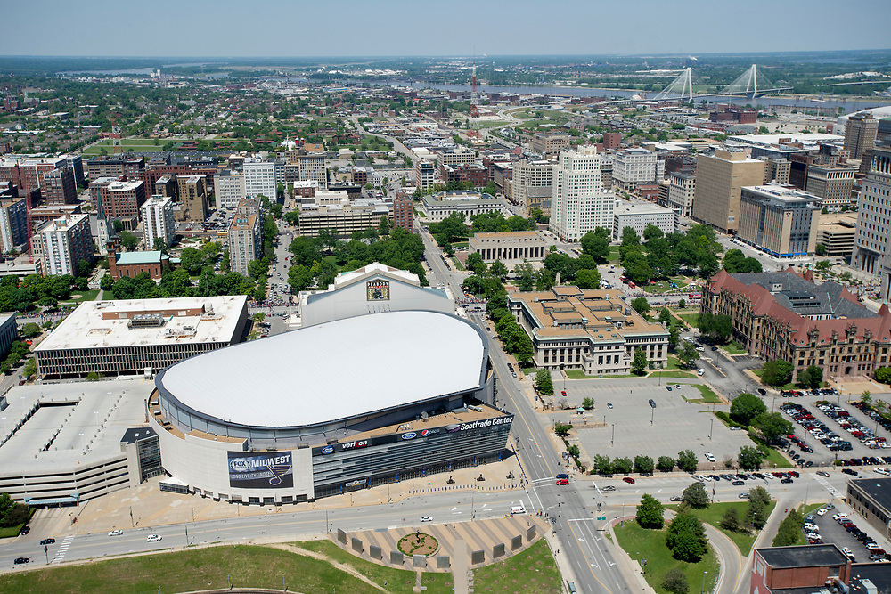 Aerial view of St. Louis, Missouri, shot from a helicopter.