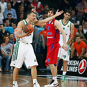 Panathinaikos's Sarunas Jasikevicius (L) during their Euroleague Final Four semifinal Game 1 basketball match CSKA Moscow's between Panathinaikos at the Sinan Erdem Arena in Istanbul at Turkey on Friday, May, 11, 2012. Photo by TURKPIX