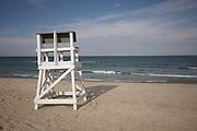 A lifeguard stand sits before the Atlantic Ocean, Nauset Beach, Cape Cod National Seashore, Orleans, Massachusetts.
