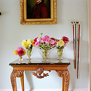 Four vases of dahlias picked from the garden on a table in the hallway of the stately home at Newby Hall estate and gardens, Ripon, North Yorkshire, UK