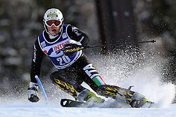 06.01.2014, Stelvio, Bormio, ITA, FIS Weltcup Ski Alpin, Bormio, Slalom, Herren, im Bild Giuliano Razzoli // Giuliano Razzoli  in action during mens Slalom of the Bormio FIS Ski World Cup at the Stelvio in Bormio, Italy on 2014/01/06. EXPA Pictures © 2014, PhotoCredit: EXPA/ Sammy Minkoff<br /> <br /> *****ATTENTION - OUT of GER*****