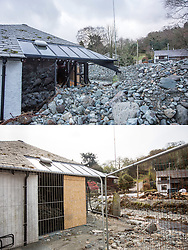 © Licensed to London News Pictures. 11/05/2016. Glenridding UK. FIVE MONTH COMPARISON OF FLOODED VILLAGE OF GLENRIDDING. Top picture taken 10/12/2015 shows the  tourist information centre in Glenridding destroyed by storm Desmond in December. Bottom picture taken 10/05/2016 shows the tourist information centre in Glenridding still boarded up & surrounded by metal fencing five months after storm Desmond. The diggers are still in the village of Glenridding five months after storm Desmond hit the area & flooded the village three times last December. Residents of the village have become frustrated at the Environment Agency after it took almost four months for the agency to start work on new flood defences leaving the village looking like a building site during the normally busy tourist period essential to get the area back on it's feet. Photo credit: Andrew McCaren/LNP
