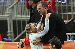 Slovenian athlete Snezana Rodic and her coach Srdjan Djordjevic at the 1st day of  European Athletics Indoor Championships Torino 2009 (6th - 8th March), at Oval Lingotto Stadium,  Torino, Italy, on March 6, 2009. (Photo by Vid Ponikvar / Sportida)