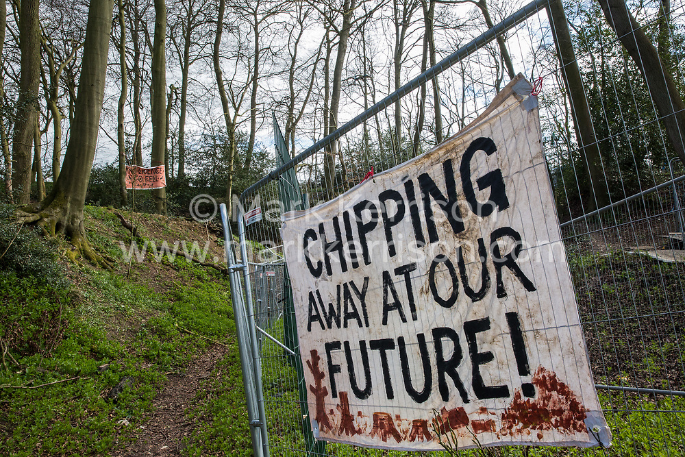 A banner hung on fencing by environmental activists is pictured during tree felling operations for the HS2 high-speed rail link in Jones Hill Wood on 9th April 2021 in Wendover, United Kingdom. Tree felling work began this week, in spite of the presence of resting places and/or breeding sites for pipistrelle, barbastelle, noctule, brown long-eared and natterer's bats, following the issue by Natural England of a bat licence to HS2's contractors on 30th March.