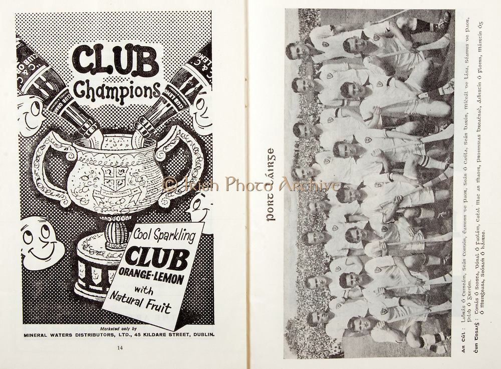 All Ireland Senior Hurling Championship Final,.06.09.1959, 09.06.1959, 6th September 1959,.Minor Kilkenny v Tipperary, .Senior Kilkenny v Limerick, Waterford 3-12. Kilkenny 1-10, ..Advertisement, Club Orange, Club Lemon, Mineral Waters Distributors Ltd, ..Waterford,