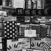 american flag merchandise in a store window display