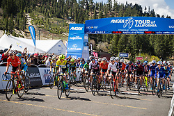 May 18, 2018 - South Lake Tahoe, California, U.S - Friday, May 18, 2018.The peloton leaves the start line during Stage 2 of the Amgen Tour of California Women's Race empowered with SRAM, which starts and finishes in South Lake Tahoe, California, near Heavenly Ski Resort. (Credit Image: © Tracy Barbutes via ZUMA Wire)