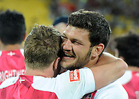 England's Sam Edgerley, left and John Brake celebrate their win over Kenya in the final at the IRB International Rugby Sevens, Westpac, Wellington, New Zealand, Saturday, February 02, 2013. Credit:SNPA / Ross Setford
