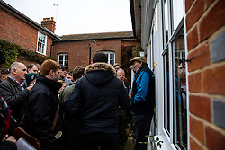 Nicky Henderson talking the media during the visit to Nicky Henderson's yard at Seven Barrows, Lambourn.