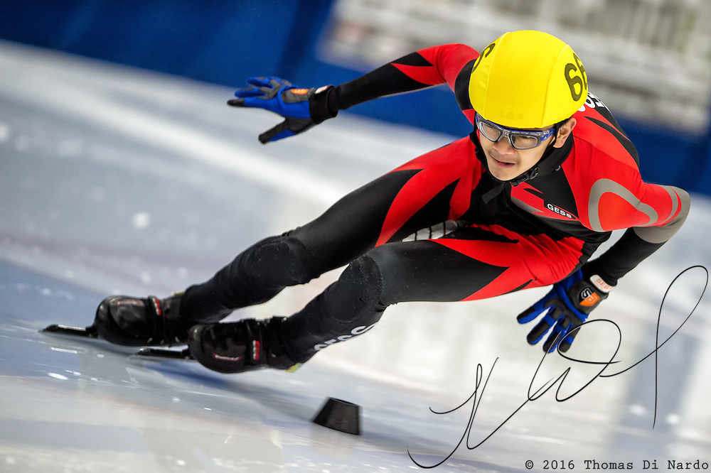 March 19, 2016 - Verona, WI - Jon Ricardo Aquino, skater number 66 competes in US Speedskating Short Track Age Group Nationals and AmCup Final held at the Verona Ice Arena.
