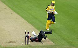 Ryan Davies of Somerset runs out Tom Alsop of Hampshire - Mandatory by-line: Robbie Stephenson/JMP - 19/06/2016 - CRICKET - Cooper Associates County Ground - Taugnton, United Kingdom - Somerset v Hampshire - NatWest T20 Blast