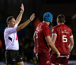 Referee Quinton Immelman<br /> <br /> Photographer Simon King/Replay Images<br /> <br /> Guinness PRO14 Round 4 - Cardiff Blues v Munster - Friday 21st September 2018 - Cardiff Arms Park - Cardiff<br /> <br /> World Copyright © Replay Images . All rights reserved. info@replayimages.co.uk - http://replayimages.co.uk