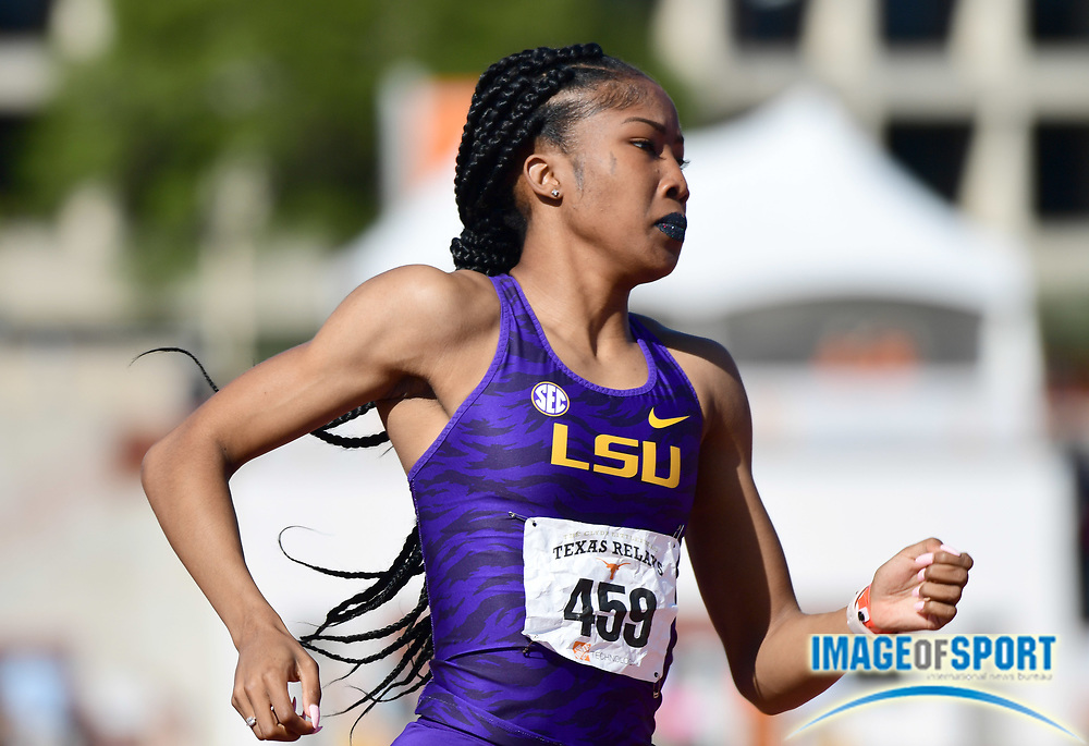 Mar 29, 2018; Austin, TX, USA; Kymber Payne of LSU wins women's 400m hurdles heat for the top qualifying time of 56.74 during the 91st Clyde Littlefield Texas Relays at Mike A. Myers Stadium.