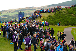 Auchterarder, Scotland, UK. 14 September 2019. Saturday afternoon Fourballs matches  at 2019 Solheim Cup on Centenary Course at Gleneagles. Pictured; Crowds of spectators around the 7th fairway and green.  Iain Masterton/Alamy Live News