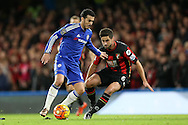 Pedro of Chelsea in action with Andrew Surman of Bournemouth marking. Barclays Premier league match, Chelsea v AFC Bournemouth at Stamford Bridge in London on Saturday 5th December 2015.<br /> pic by John Patrick Fletcher, Andrew Orchard sports photography.