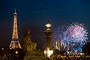14 July (Bastille Day) fireworks, Place de la Concorde,  Eiffel Tower, Paris, France