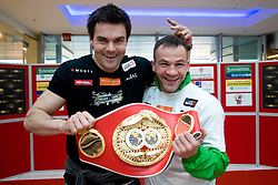Coach Tomi Jagarinec and Slovenian Boxer Dejan Zavec alias Jan Zaveck alias Mr. Simpatikus at open for public and press practice session before defending title of IBF World Champion, on April 6, 2010, in BTC City park, Ljubljana, Slovenia.  (Photo by Vid Ponikvar / Sportida)