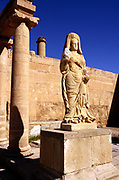 A statue of the Goddess Shahiro outseide her shrine<br /> Hatra is today known as al-Hadr and is an ancient ruined city in the al-Jazira region of Iraq. It is a World Heritage site and  was founded as an Assyrian city by the Seleucid Empire some time in the 3rd century BCE. A religious and trading centre of the Parthian empire, it flourished during the 1st and 2nd centuries BCE. Hatra is the best preserved and most informative example of a Parthian city