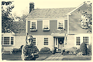 Rockville Centre, New York, U.S. September 22, 2020. CHLOE SCHIELE is in the front yard of her home, in which Ruth Bader and Martin Ginsburg were married in 1954. The Schiele family bought the Colonial home in Rockville Centre, Long Island, in 2016, from Martin Ginsburg's sister and brother-in-law, Claire and Edward Steipleman.