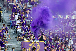 August 4, 2018 - Orlando, FL, U.S. - ORLANDO, FL - AUGUST 04:Orlando fans celebrate during the soccer match between the Orlando City Lions and the New England Revolution on August 4, 2018 at Orlando City Stadium in Orlando FL. (Photo by Joe Petro/Icon Sportswire) (Credit Image: © Joe Petro/Icon SMI via ZUMA Press)
