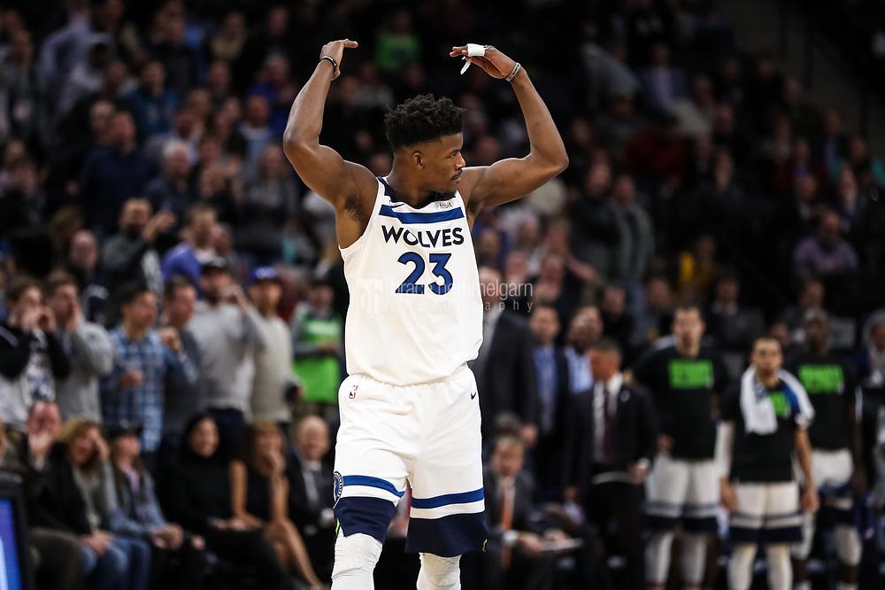 Feb 15, 2018; Minneapolis, MN, USA; Minnesota Timberwolves guard Jimmy Butler (23) during a game between the Minnesota Timberwolves and Los Angeles Lakers at Target Center. Mandatory Credit: Brace Hemmelgarn-USA TODAY Sports