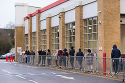 © Licensed to London News Pictures. 05/01/2021. WATFORD, UK.  Modest queues at opening time at Costco warehouse in Watford on the morning of the UK's third national lockdown.  The UK government has implemented the lockdown in response to the rising numbers of deaths and positive coronavirus cases as a recently detected, much more infectious new strain of coronavirus causes concern nationwide.  Photo credit: Stephen Chung/LNP