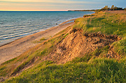 Sandy beach and dunes on Lake Huron at sunset<br />Grand Bend<br />Ontario<br />Canada