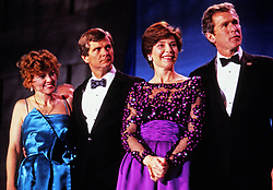 From left to right: Sally Dunbar Atwater, Lee Atwater, Chairman of the Republican National Committee, Laura Bush, and campaign advisor and businessman George W. Bush attend an Inaugural Ball celebrating the Inauguration of George H.W. Bush as the 41st President of the United States on Inauguration Day, January 20, 1989 in Washington, DC. Photo by Pam Price / Pool via CNP /ABACAPRESS.COM