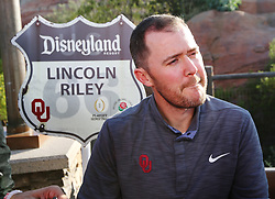 December 27, 2017 - Anaheim, CA, USA - Oklahoma head coach Lincoln Riley takes questions during a news conference at Disney California Adventure Park for the Rose Bowl, on Wednesday, Dec. 27, 2017, in Anaheim, Calif. (Credit Image: © Curtis Compton/TNS via ZUMA Wire)